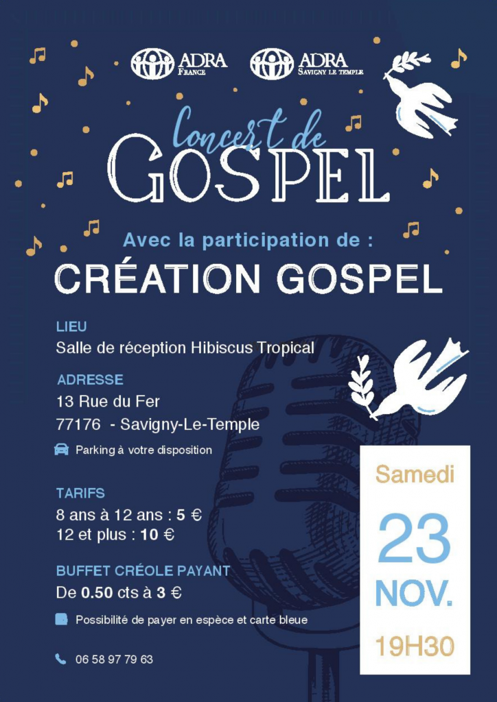 Affiche concert de Gospel ADRA avec Création Gospel